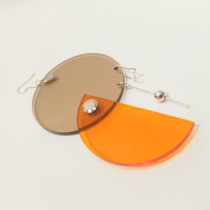 Azumi and David / layered constructivist earring (circle & half moon)