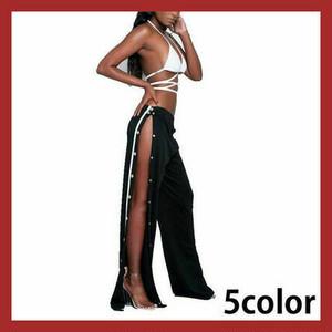 お纏め割引対象商品 サイドボタンスリットジャージ ロングパンツ ストリート カジュアル ダンス衣装