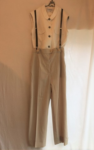 CHANEL Beige Tapered pants