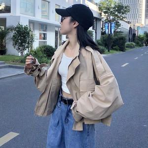【アウター】ファッション無地長袖折り襟ドルマンスリーブジャケット