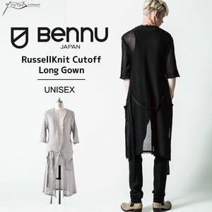 【BENNU】Cotton Russel Knit Cut-Off Long Gown/メンズ・レディース