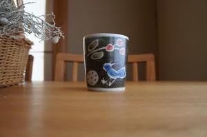 砥部焼「青い鳥」フリーカップ(大)/森陶房Kaori