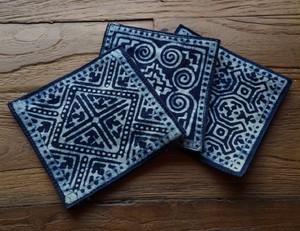 藍染コースター 布コースター 藍色 幾何学模様 民族模様 綿コースター