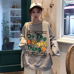 【トップス】韓国系ラウンドネックプルオーバーパーカー23182716