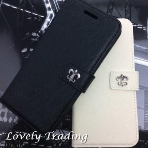 百合の紋章 iPhone PUレザーケース スタンド機能 カード収納 アンティークシルバー  ベルト