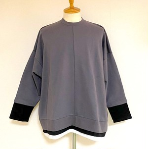 Layered Design Big Sweat Pullover Charcoal