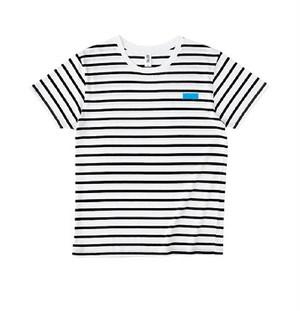 P.O.Pボックスロゴ刺繍 黒ボーダーTシャツ(ライトブルー/イエロー)