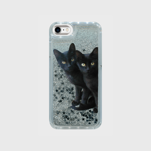 黒猫は見た・キラキラグリッタースマホケース(シルバースター)