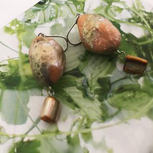 石をモチーフした和紙ピアス【礫】れき(杏色)