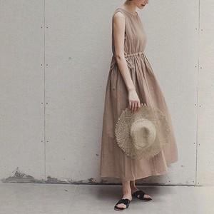 【送無】*予* Cotton Linen Drawstring Long Dress   リネン  麻 コットン  ワンピース 大人カジュアル プチプラ 送料無料