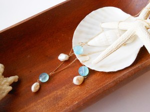 ◇sea blue chalcedony/freshwater pearl◇14kgf「mermaid」ネックレス