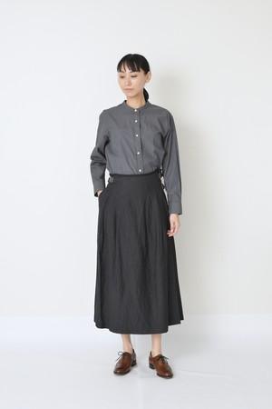 リネン/ウール ラップスカート グレー