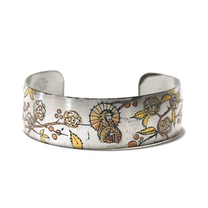 Reed & Barton Damascene Vintage Pewter Japanese Traditional Design Bangle