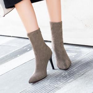 【シューズ】秋冬新作ファッションポインテッドトゥハイヒール無地ブーツ