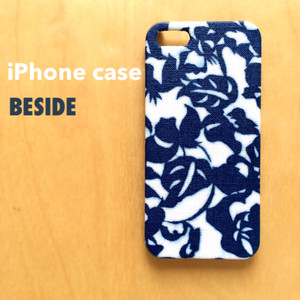 【 KIMONO 】iPhoneケース (藍色ボタニカル・綿着物)