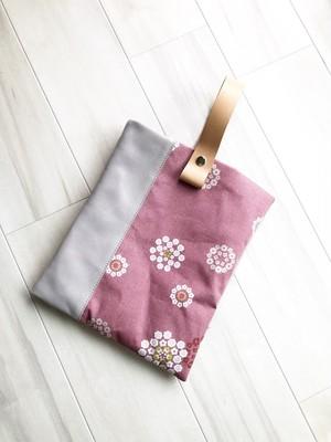 ワンハンドル 2WAY トートバッグ クラッチ 和柄 小豆色 花柄 本革 ラベンダーグレー
