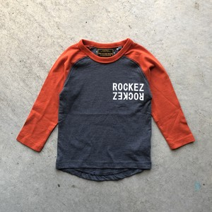"【KID'S】ROCKEZ ""Double Logo"" 3/4 Raglan Sleeves Tee"