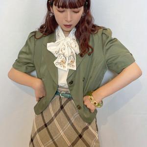 (LOOK) flower bow tie blouse
