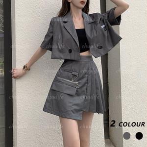 【セット】【単品注文】ファッションミニ丈ボタンジャケット+ハイウエストスカートセットアップ43701608