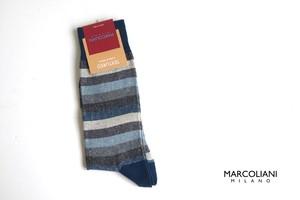 マリコリアーニ|marcoliani|クルー丈ボーダーソックス|Tonal stripe|Blue mix