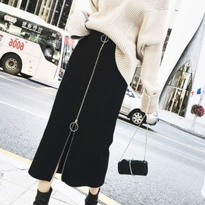 【ボトムス】カジュアルブラックすね丈切り替えスカート25489990