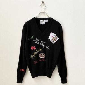 70〜80年代 刺繍 ラスベガス Vネックニットセーター アメリカ 古着 日本M