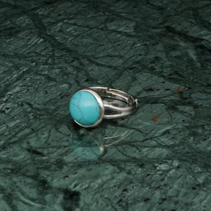 ROUND STONE RING SILVER 009