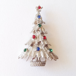 silver christmas tree brooch[b-137]