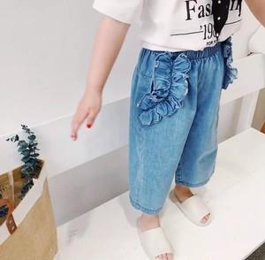 KIDS♡80〜130/ラッフル ポケット ワイド デニム パンツ/9分丈/フリル/ボトム/可愛い/ジーパン/ズボン/デニムパンツ/ワイドパンツ/子供服/女の子/2018