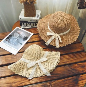 UVカット リボン フリル 帽子 ハット おしゃれ 夏 人気 2色
