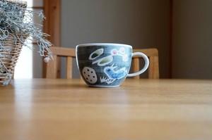 砥部焼/「青い鳥」スープマグ/森陶房kaori