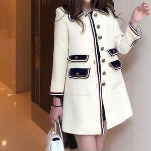 襟付きトリコロール風コート