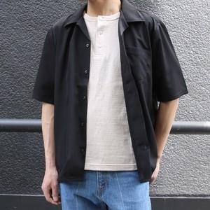 【Audience】S/S Rayon Like Open Collar Loose Fit Shirt (BLACK , BLUE GRAY , BEIGE) レーヨンライク ピーチファイユ オープンカラー ルーズフィットシャツ 日本製 MADE IN JAPAN