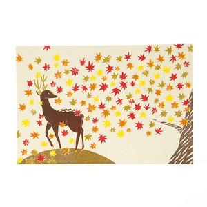 花札ポストカード・鹿に紅葉