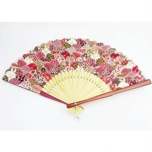 レディース布扇子 鞠うさぎ ピンク (扇子袋付き)