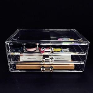 【単品】アクリル コスメティック ディスプレイ ボックス 3段 (引き出し3つ) NL-COM005