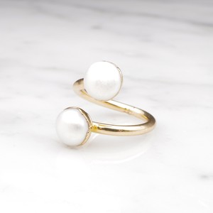 DOUBLE PEARL OPEN RING 05