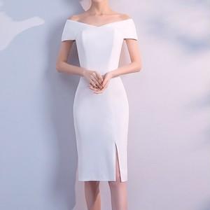 オフショル ドレス タイトドレス 膝丈 スリットスカート シンプル 上品 エレガント セクシー イベント パーティ 二次会 お呼ばれ