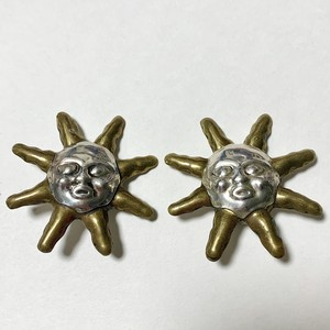 Vintage 925 Silver & Brass Sunface Earrings Made In Mexico