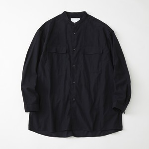 LIGHT MOLESKIN WIDE SILHOUETTE BAND COLLAR SHIRT - NAVY