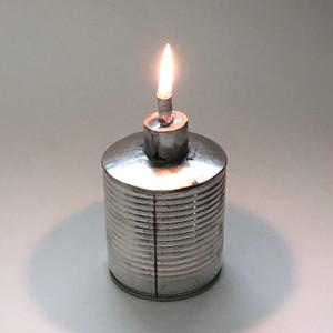 空缶のオイルランプ