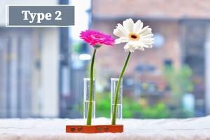 レザー仕立て一輪挿し〜タイプ2 『2連タイプ』 『植物性タンニン鞣し製法』