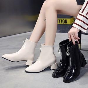 【シューズ】ファッションスクエアトゥ人気合わせやすいミドルヒールショート丈ブーツ33863245