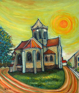 Auvers-sur-oiseの教会(額付)