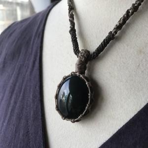 レインボー・オブシディアン / 天然石*マクラメ編みネックレス