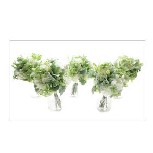 ホワイト紫陽花のブーケ(5個セット) メインテーブル・ブライズメイドに最適