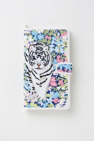 【マグネット式】ホワイトタイガー手帳型マルチスマホケース ブルー