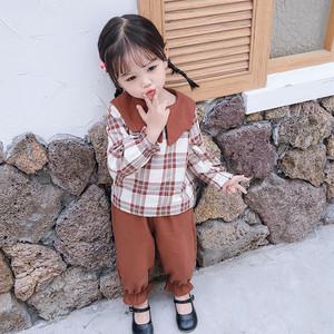 【セット】レトロカジュアル韓国風チェック柄ラウンドカーラー子供服ガールズ二点セット25518156