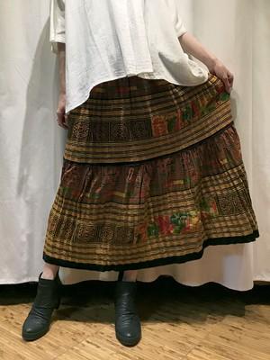 手刺繍 モン族 フレアロングスカート 【イエロー】