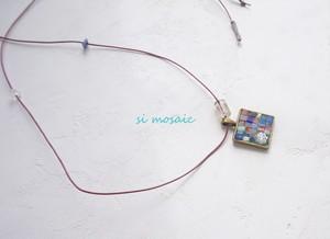 Transparent pink mosaic Necklace.(透明ピンクのモザイクネックレス)